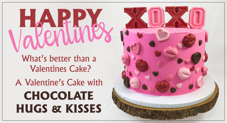 Valentines Cake with Chocolate Decorations