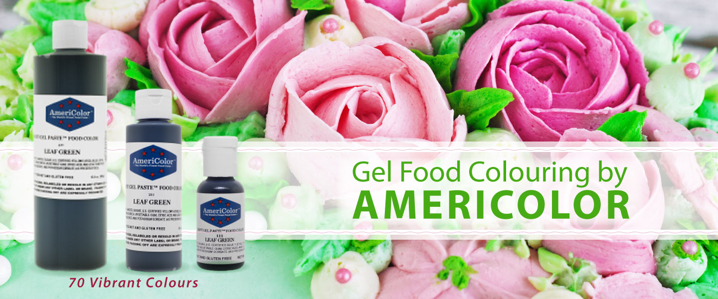 Americolour Gel Food Colouring: image shows bottles of leaf grean and piped icing flowers