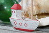 """Decorative Wooden Boat House 6"""" - Red Rustic Nautical Accent 