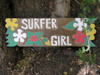 """Surfer Girl Sign w/ Plumeria 24"""" - Hand Carved/Painted 