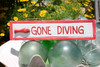 """Gone Diving 12"""" Wooden Sign - Rustic Nautical Blue 