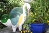 "Decorative Egret Bird 14"" Wooden - Rustic Yellow Nautical Accent | #ort1704934y"