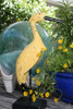 "Decorative Wooden Heron Bird 14"" - Rustic Yellow Garden Decor 