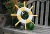 "Ship Wheel Mirror 20"" - Yellow Rustic Nautical Decor | #ort1700150y"