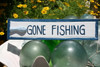 "Gone Fishing 12"" Wooden Sign - Rustic Nautical Blue 