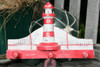 "Lighthouse Hanger 12"" w/ 3 Pegs - Rustic Red Nautical Accent 