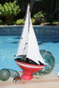 "Decorative Sailboat 12"" - Rustic Red Nautical Accent 