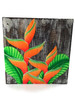 "Heliconia Flower Painting on Wood Planks 8"" X 8"" Rustic Wall Decor 