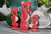 Seahorses Set of 3 - Rustic Red Nautical Decor   #ort17009s3r