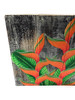 """Heliconia Flower Painting on Wood Planks 12"""" X 12"""" Rustic Wall Decor 