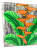 """Heliconia Flower Painting on Wood Planks 16"""" X 16"""" Rustic Wall Decor 