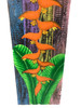 """Heliconia Flower Painting on Wood Planks 32"""" X 8"""" Rustic Wall Decor 