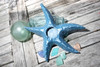 "Starfish Candle Holder 9"" - Rustic Coastal Blue 
