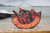 "No Smoking Sign 14"" - Bull Dog Pirate Decor - Hand Carved 