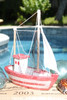 "Decorative Fishing Boat 10"" - Ructic Coastal Red 