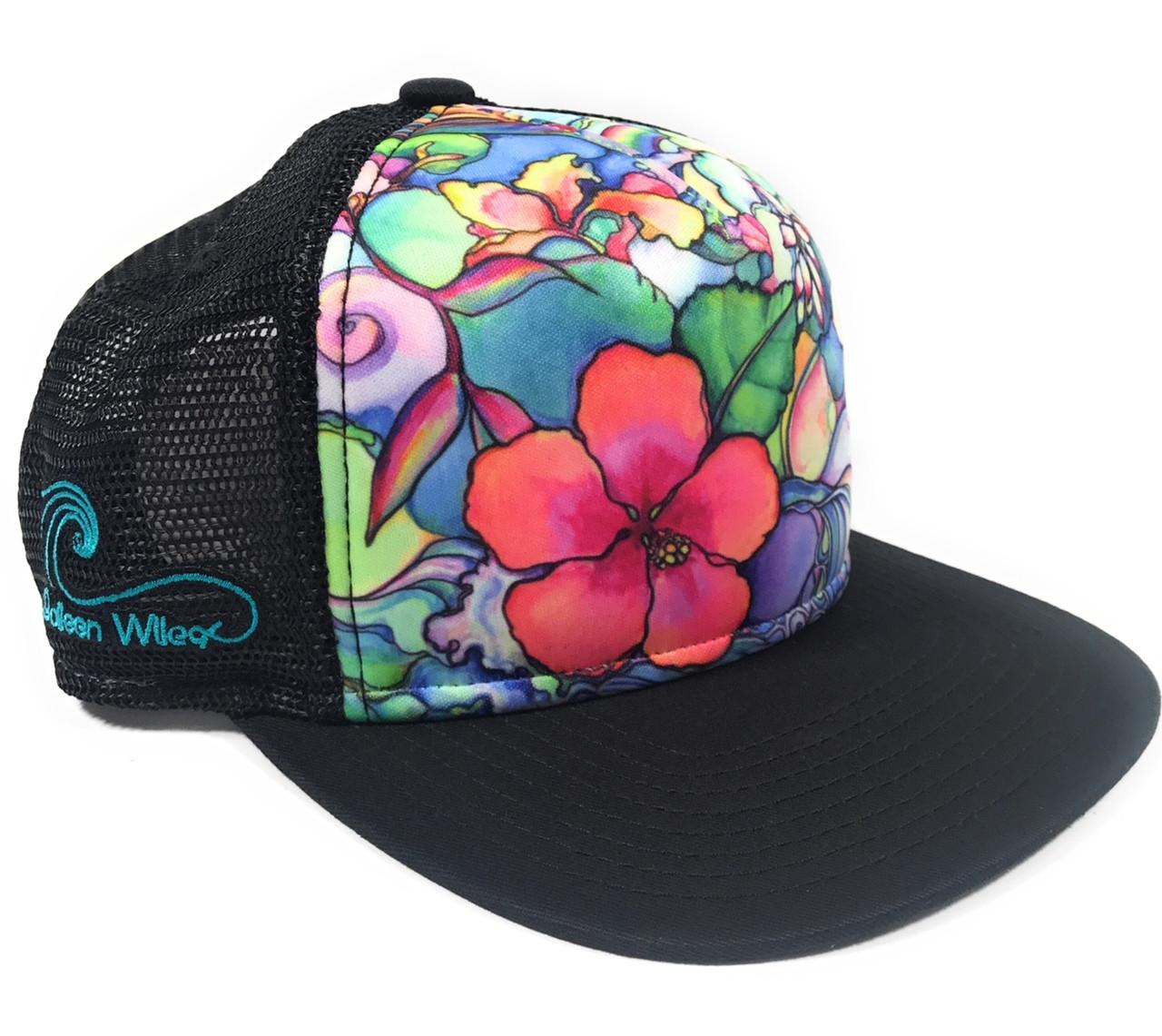 Aloha Trucker Hats Island Style by Colleen Wilcox - Black  89b2aa1bc3f
