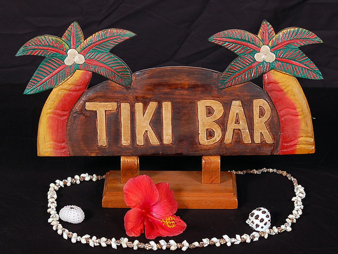 "Tiki Bar Sign w/ Plam Trees 14"" - Island Style   # ..."