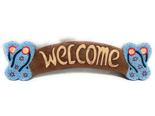 """Welcome Sign 22"""" w/ Slippers - Entry Sign 