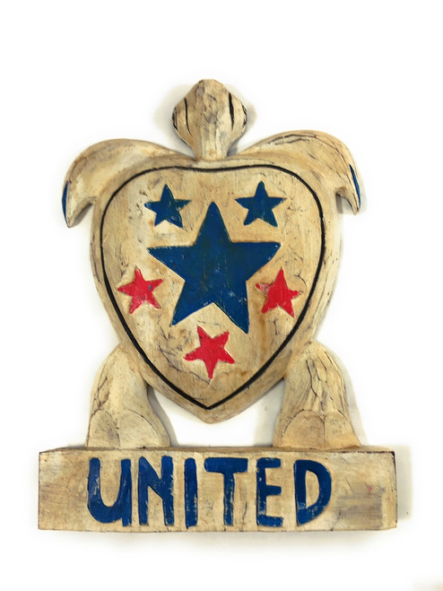 "Wooden Turtle ""United"" 14 inch - Americana Decor 