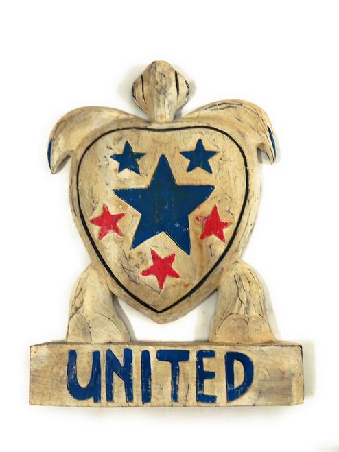 "Wooden Turtle ""United"" 14 inch - Americana Decor | #dpt5320"