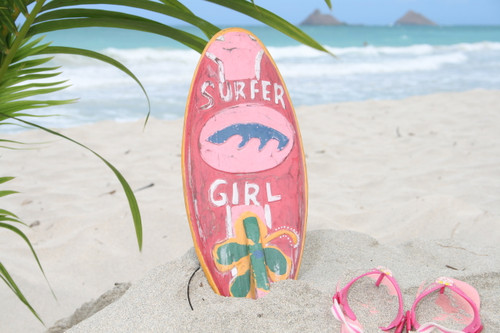 """Surfer Girl Surf Sign 14"""" w/ Fin - Surfing Decor Accents 