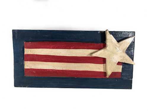 "Wooden U.S.A Flag Hanging Sign 16"" - Americana Decor 