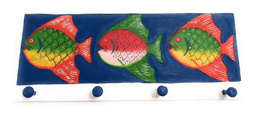 "Colorful Fish Hanger 20"" w/ 4 Pegs - Ocean Decor Accents 