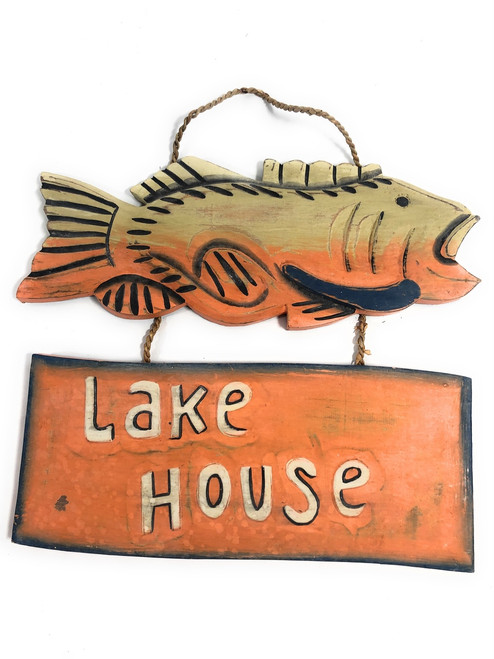 "Lake House Wooden Sign 15"" w/ Bass - Cabin Decor 