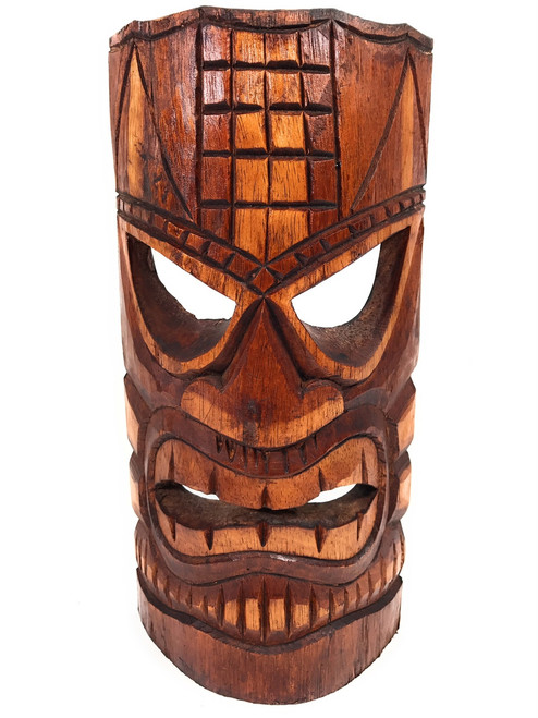 "Love Tiki Mask 12"" - Antique Finish - Tropical Decor 