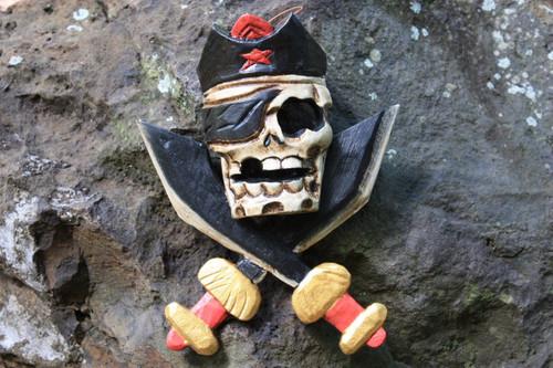 "Captain Skully Hanging Sign 12"" Red - Crossbones Decor | #kng21076"