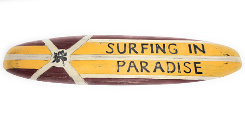 "Surfing In Paradise Rustic Surf Sign 40"" - Surf Decor Accents 