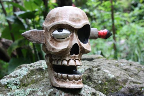 "Skull Head w/ Knife 9"" X 12"" - Pop Art Skull Decor   #kng2102540"