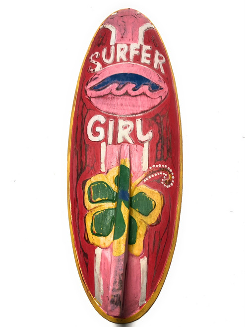 "Surfer Girl Surf Sign 20"" w/ Fin - Surfing Decor Accents 