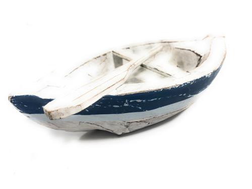 "Decorative Wooden Boat 8"" - Blue Rustic Nautical Decor   #ata1800320b"