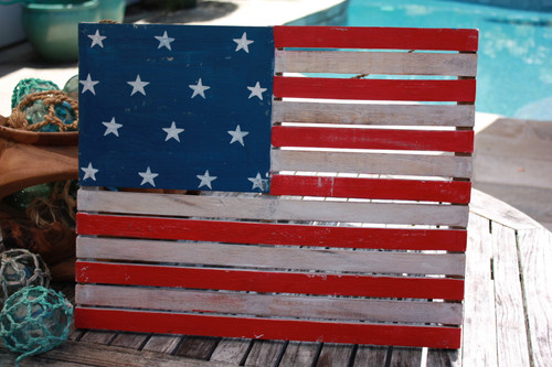 "Wooden U.S.A Flag on Planks 20"" - Texas Americana Decor   #dpt532550"