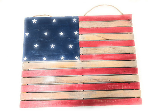 "Wooden U.S.A Flag on Planks 20"" - Texas Americana Decor 