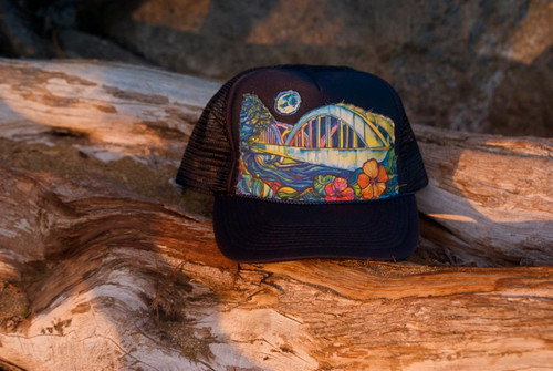 "Aloha Trucker Hats ""Rainbow Bridge"" - Hand Stitched in Hawaii 