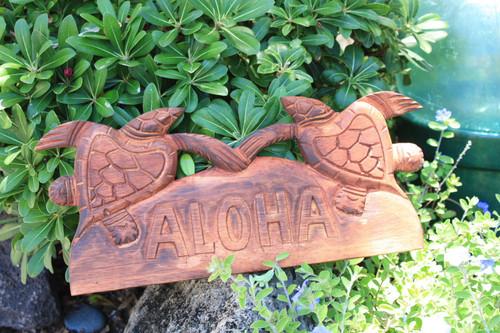 "Aloha Sign w/ Carved Turtles 12"" - Hawaii Decor   #bds1202540"