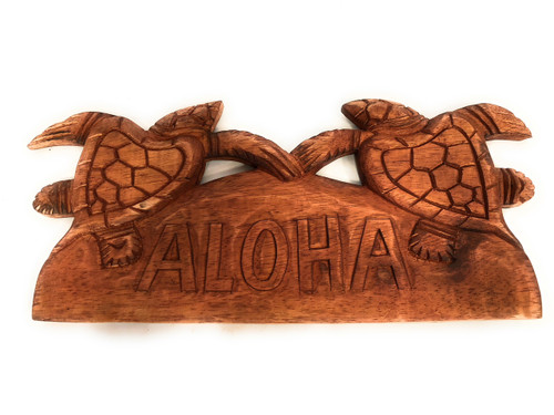 "Aloha Sign w/ Carved Turtles 12"" - Hawaii Decor 