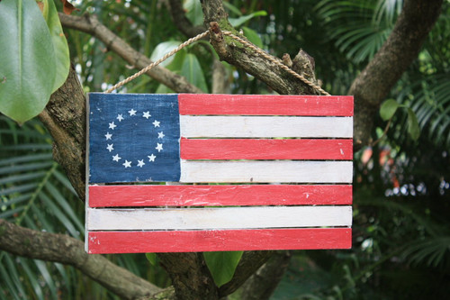 "Wooden U.S.A Flag on Planks 14"" - Americana Decor   #dpt532635"