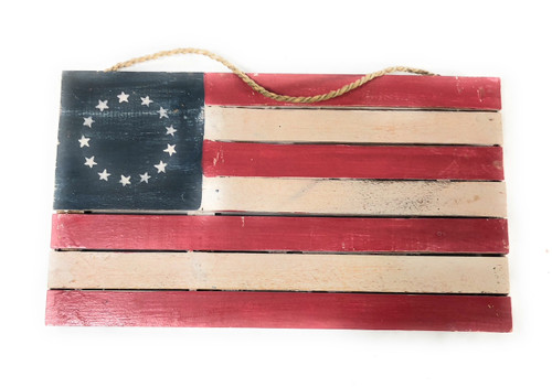 "Wooden U.S.A Flag on Planks 14"" - Americana Decor 