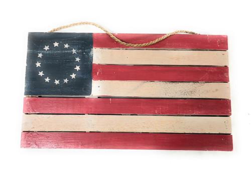 "Wooden U.S.A Flag on Planks 14"" - Americana Decor | #dpt532635"