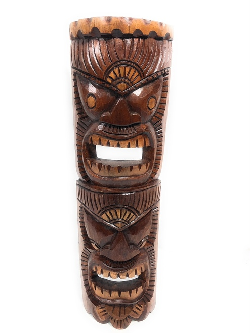 "Beautiful Happiness & Lucky Tiki Mask 24"" Hand Carved 