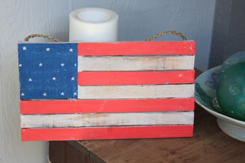 "Wooden U.S.A Flag on Planks 14"" - Texas Americana Decor   #dpt532735"