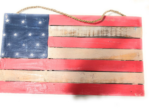 "Wooden U.S.A Flag on Planks 14"" - Texas Americana Decor 