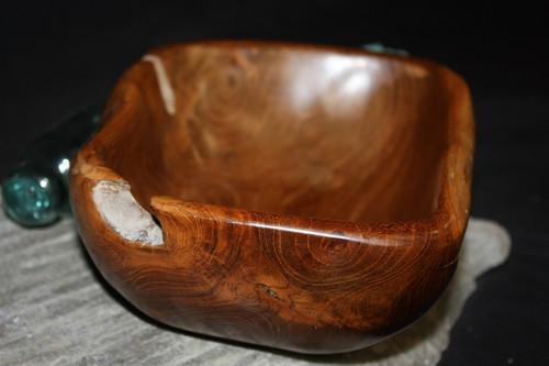 "Rustic Wooden Bowl 9""X7""X3.5"" Teak Root | #HWA129"