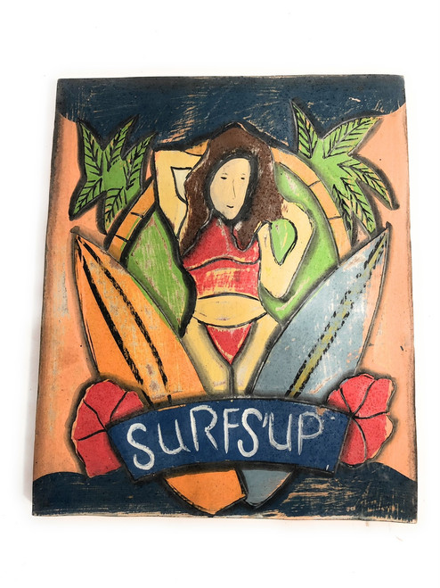 "Surf's Up Storyboard Surf Plaque 14"" - Wall Decoration 