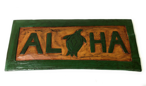 """Aloha Sign 16"""" w/ Turtle (Honu) - Hand Carved Welcome Sign 