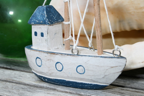 "Decorative Wooden Boat House 6"" - Blue Rustic Nautical Accent 
