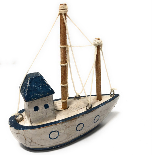 """Decorative Wooden Boat House 6"""" - Blue Rustic Nautical Accent 